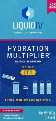 Liquid I.V. Hydration Multiplier Passion Fruit Electrolyte Drink Mix Sticks Perspective: front