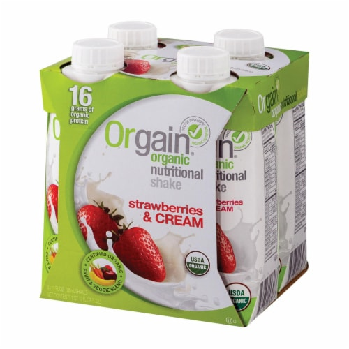 Orgain Organic Strawberries & Cream Shakes Perspective: front