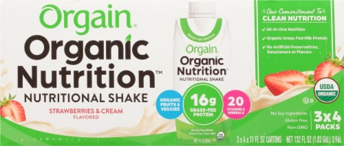 Orgain Organic Strawberries & Cream Nutritional Shake 12 Count Perspective: front