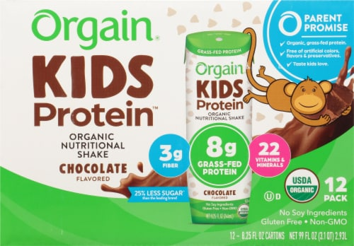 Orgain Kids Protein Chocolate Organic Nutritional Shake Perspective: front