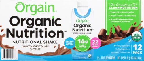 Orgain Organic Nutrition Vegan Smooth Chocolate All-In-One Nutritional Shake Perspective: front