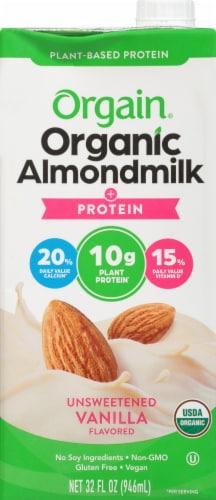 Orgain Organic Protein Unsweetened Vanilla Almond Milk Perspective: front