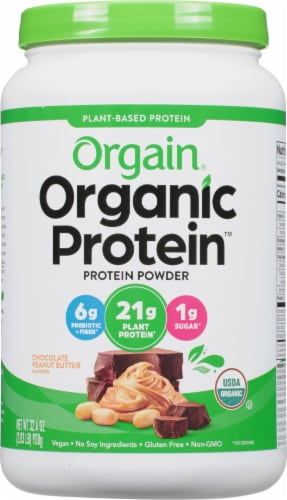 Orgain Plant Based Powder Chocolate Peanut Butter Organic Protein Perspective: front