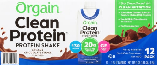 Orgain  Clean Protein™ Grass Fed Protein Shake   Creamy Chocolate Fudge Perspective: front