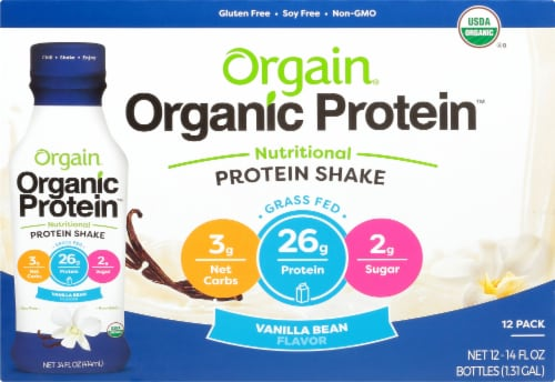 Orgain Organic Protein Vanilla Bean Nutritional Protein Shake Perspective: front