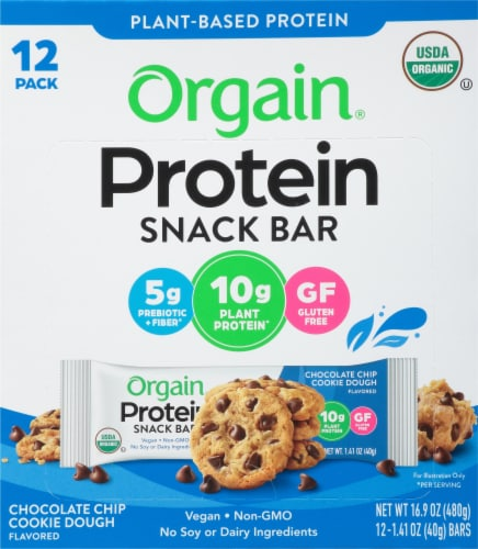 Orgain Organic Chocolate Chip Cookie Dough Protein Snack Bars Perspective: front