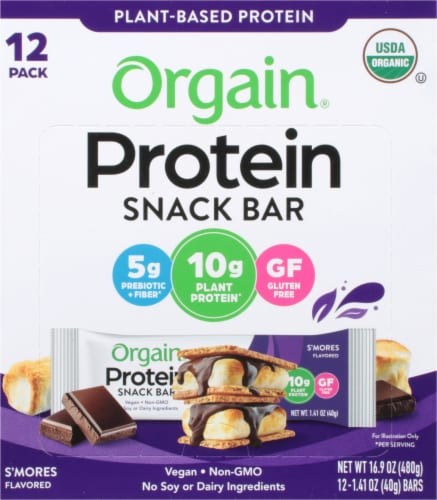 Orgain Organic S'Mores Protein Snack Bars Perspective: front