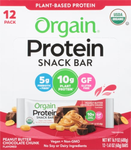 Orgain Organic Peanut Butter Chocolate Chunk Protein Snack Bars Perspective: front