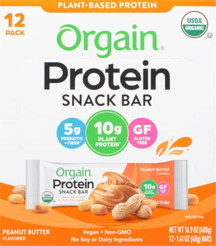 Orgain Organic Peanut Butter Protein Snack Bar Perspective: front