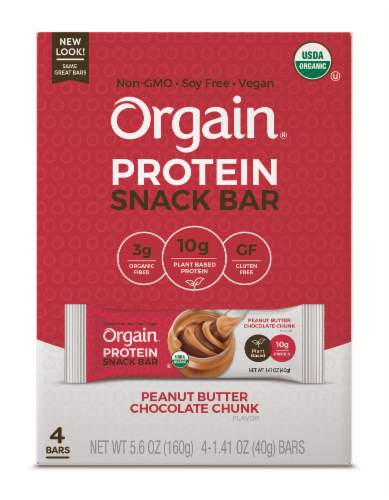 Orgain Organic Peanut Butter Chocolate Chunk Protein Snack Bar Perspective: front