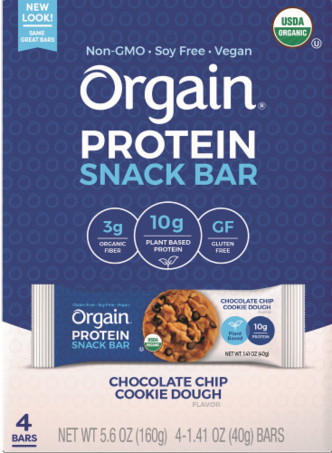 Orgain Organic Chocolate Chip Cookie Dough Protein Snack Bar Perspective: front