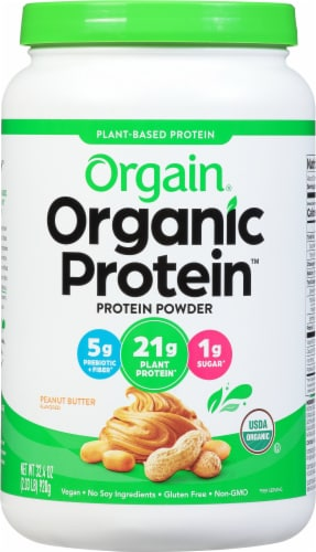 Orgain Organic Peanut Butter Plant Based Protein Powder Perspective: front