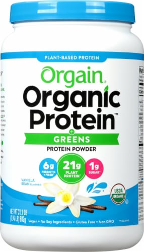 Orgain Organic Vanilla Bean Protein & Greens Plant Based Powder Perspective: front