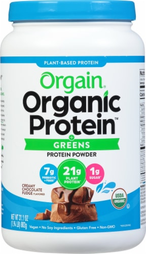Orgain Organic Protein & Greens Creamy Chocolate Fudge Plant Based Protein Powder Perspective: front