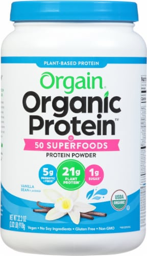 Orgain Organic Protein & Superfood Vanilla Bean Flavor Plant Based Protein Powder Perspective: front