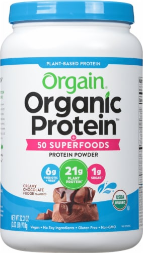 Orgain Organic Protein & Superfoods Creamy Chocolate Fudge Flavor Plant Based Protein Powder Perspective: front