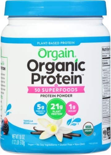 Orgain Organic Protein and Superfoods Plant Based Vanilla Bean Protein Powder Perspective: front