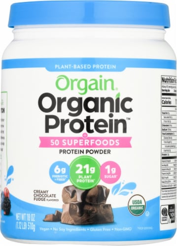Orgain Organic Creamy Chocolate Fudge Protein + Superfoods Plant-Based Protein Powder Perspective: front