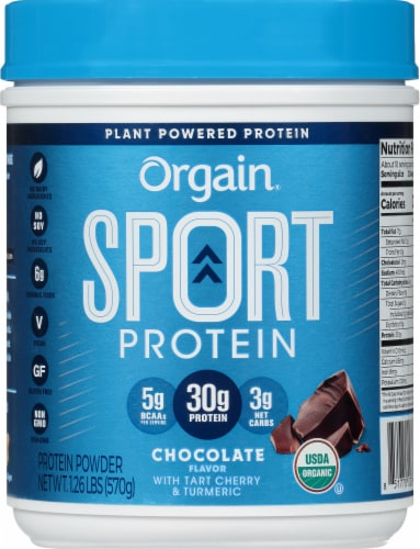 Orgain Chocolate Sport Powdered Plant Protein Perspective: front