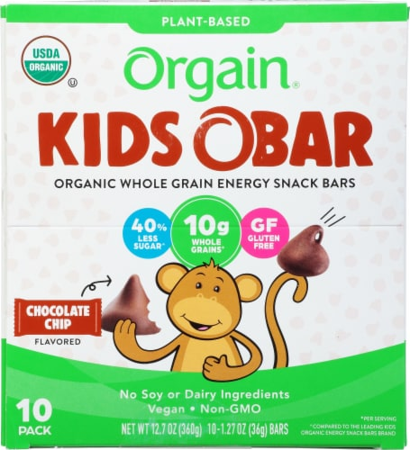 Orgain  Kids O Bar Organic Whole Grain Energy Snack   Chocolate Chip Perspective: front