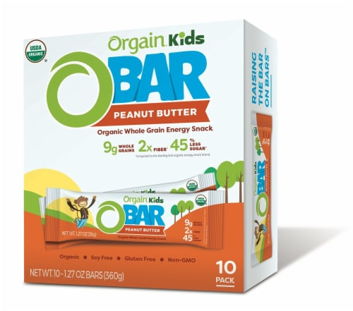 Orgain  Kids O Bar Organic Whole Grain Energy Snack   Peanut Butter Perspective: front