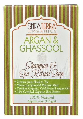 Shea Terra Organics Shampoo & Spa Ritual Bar Soap Argan & Ghassool Perspective: front