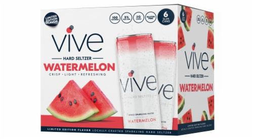 VIVE Hard Seltzer Watermelon Seasonal Spiked Sparkling Water Perspective: front