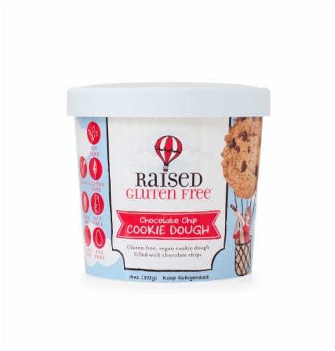 Raised Gluten Free Chocolate Chip Cookie Dough Perspective: front