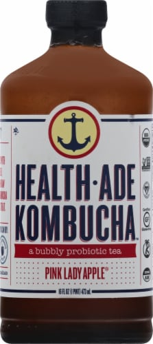 Health Ade Pink Lady Apple Kombucha Probiotic Tea Perspective: front