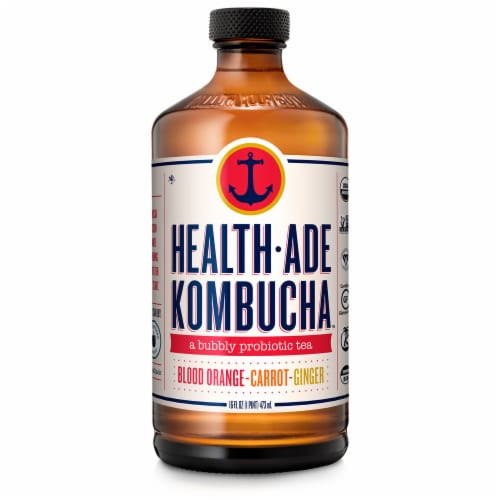 Health-Ade Blood Orange Carrot Ginger Kombucha Perspective: front