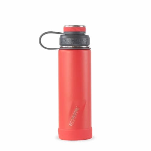 EcoVessel Boulder TriMax Insulated Stainless Steel Water Bottle - Jazz Red Perspective: front