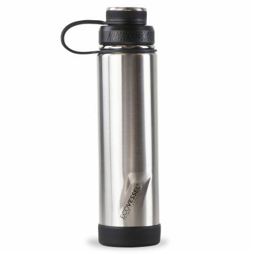 EcoVessel Boulder TriMax Insulated Stainless Steel Water Bottle - Silver Perspective: front
