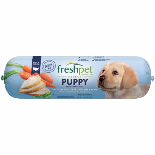 Freshpet Select Puppy Growth & Development Recipe Chicken Egg & Vegetable Slice & Serve Roll Perspective: front