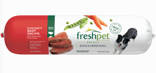 Freshpet Select Chunky Beef Recipe Slice & Serve Roll Dog Food Perspective: front