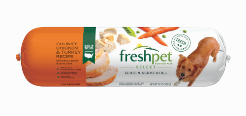 Freshpet Select Chunky Chicken & Turkey Recipe Slice & Serve Roll Dog Food Perspective: front