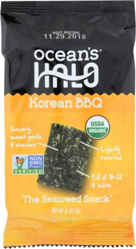 Ocean's Halo Korean BBQ Seaweed Snack Perspective: front