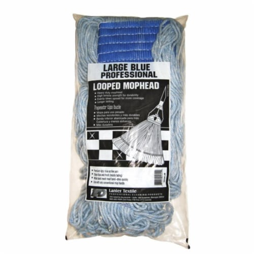 Lanier 113-LOOPED-BB Looped Mop Head  Blue - pack of 6 Perspective: front