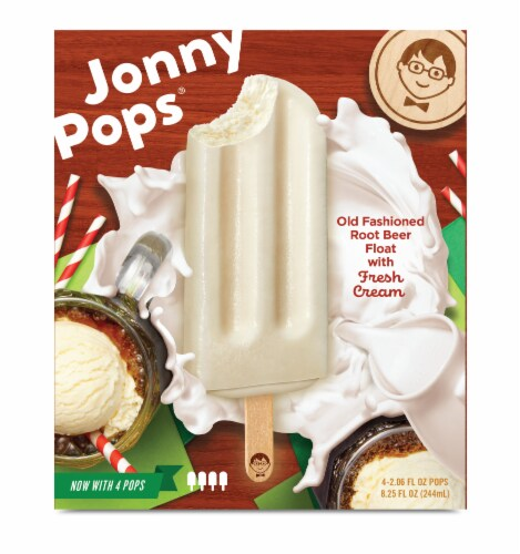 Jonny Pops Old Fashioned Root Beer Float with Fresh Cream Pops Perspective: front