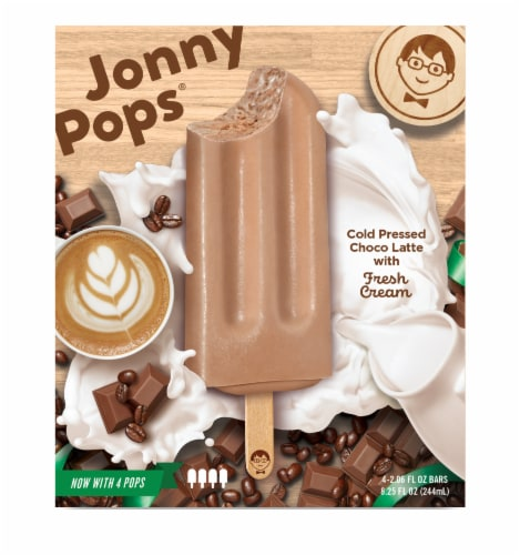 Jonny Pops Cold Pressed Choco Latte with Fresh Cream Pops Perspective: front