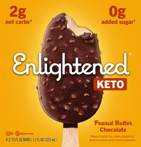 Enlightened Keto Collection Peanut Butter Chocolate Chip Ice Cream Bar Perspective: front
