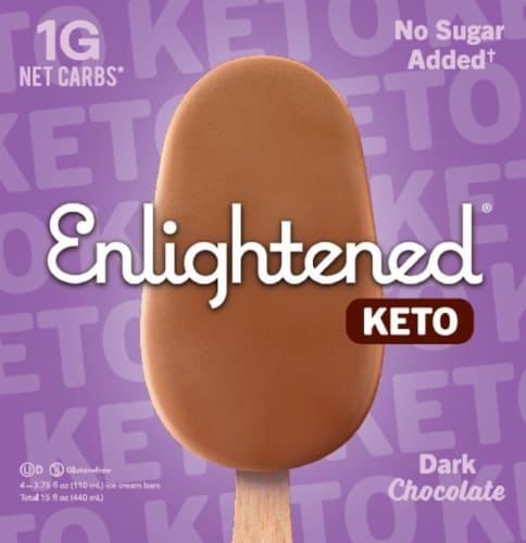 Enlightened Keto Collection Dark Chocolate Ice Cream Bar 4 Count Perspective: front