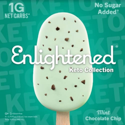 Enlightened Keto Collection Mint Chocolate Chip Ice Cream Bars Perspective: front