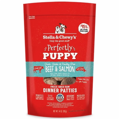 Stella & Chewys 852301008090 14 oz Dog Freeze Dried Puppy Beef Salmon Dinner Patties Perspective: front