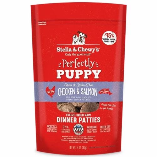 Stella & Chewys 852301008106 5.5 oz Dog Freeze Dried Puppy Chicken Salmon Dinner Patties Perspective: front