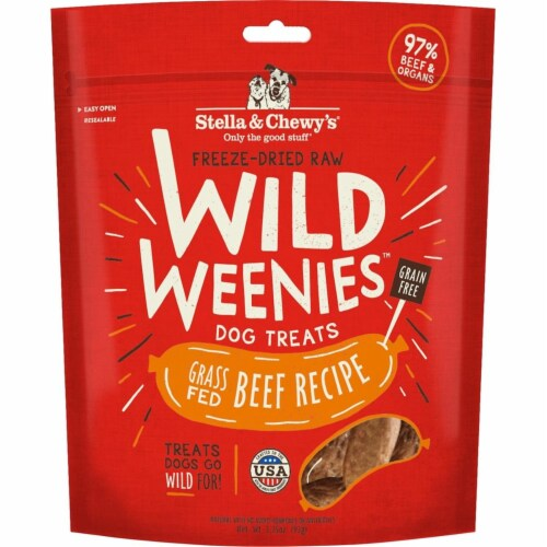 Stella & Chewys 852301008120 3.25 oz Dog Freeze Dried Weenie Beef Treats Perspective: front