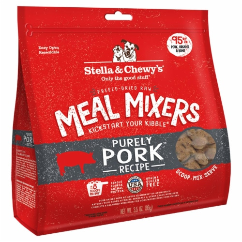 Stella & Chewy 84000877 3.5 oz Dog Freez Dried Meal Mixers Pork Perspective: front