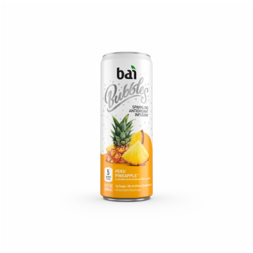 Bai Bubbles Peru Pineapple Sparkling Beverage Perspective: front