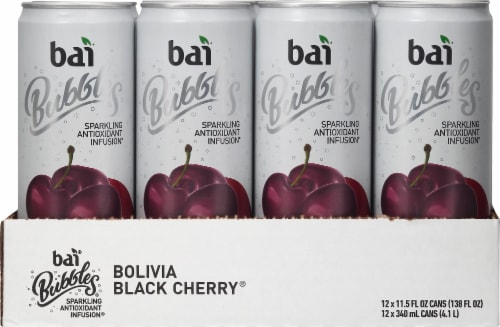 Bai Bubbles Bolivia Black Cherry Sparkling Antioxident Infusion Water Perspective: front