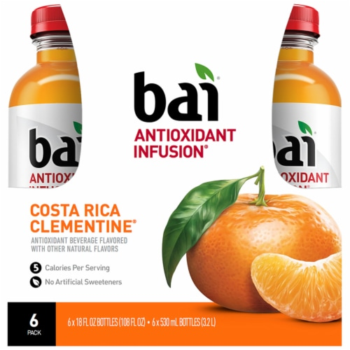 Bai Costa Rica Clementine Antioxidant Infused Beverage 6 x 18 fl oz Perspective: front