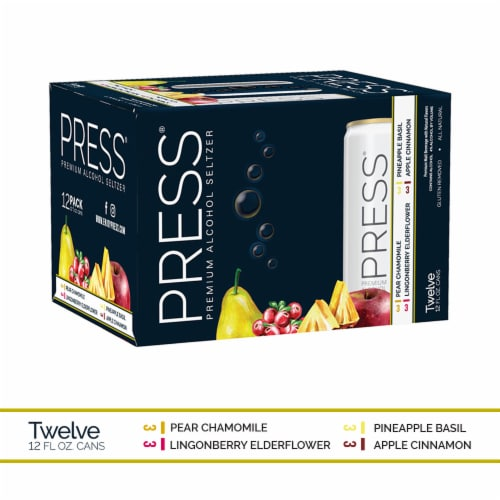 PRESS Premium Alcohol Seltzer Variety Pack Perspective: front